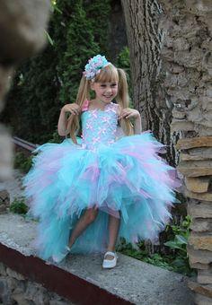 Pink Blue Flower Girl Dress Birthday Holiday by KingdomBoutiqueUA