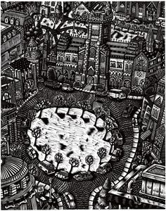 King's College Circle, University of Toronto by Christopher Hutsul Art Toronto, King's College, Artwork Display, City Photo, Graphic Design, Black And White, Gallery, Illustration, Block Prints