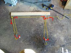 This is a pretty simple and quick way to build a bike hoist that will lift a bike evenly and easily out of your way. The neat trick is that it uses one rope to...