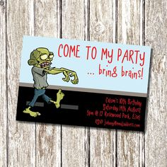 Plants Vs Zombies Invitation Template Inspirational Zombie Birthday Party Invitation Printable and by Zombie Birthday Parties, Zombie Party, Halloween Birthday, Birthday Party Decorations, Birthday Ideas, 5th Birthday, Free Birthday Invitations, Halloween Invitations, Oh My Fiesta