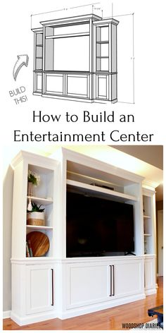 Build your own DIY entertainment center and TV console media center with this tutorial video and pri Living Room Tv Cabinet, My Living Room, Tv Center, Built In Media Center, Tv Built In, Living Room Entertainment Center, Entertainment Center Wall Unit, Tv Furniture, Farmhouse Furniture