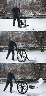 Wovel - The wheeled snow shovel. Interesting and apparently back saving. Don't know how it would work with the heavy stuff.....