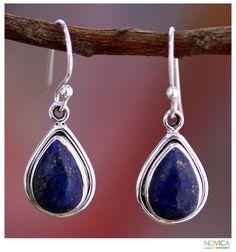 Blue Teardrop - Fair Trade Sterling Silver & Lapis Lazuli Earrings