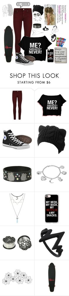 """""""Day Dreamer"""" by skatergurl58 ❤ liked on Polyvore featuring Paige Denim, Converse, Pusheen, Timeless Sterling Silver, Hot Topic, Casetify, WALL and Chloé"""