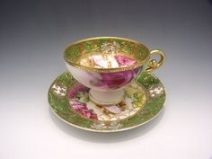 Old Noritake   teacups  with green and roses c.1891