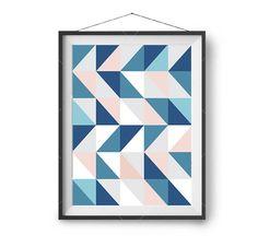 Blue Pink Art Scandinavian Print Geometric Art Abstract