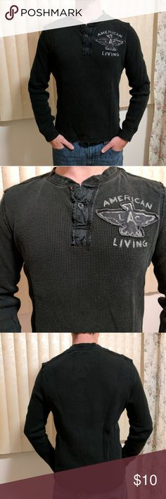 American Living Henley Color: faded black Fit: fitted  Description/condition: mens Henley with logo and eagle detail and 2 button detail on front. Pre-loved condition, no stains/holes American Living Shirts Tees - Long Sleeve