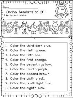 Image result for worksheet grade 2 ordinal numbers