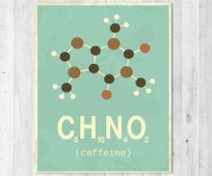 Vintage Inspired Caffeine Molecule Science Print by HeidisHubbub Chemistry Tattoo, Chemistry Art, Chemistry Gifts, Vintage Inspiriert, Chemical Structure, Chemical Formula, Organic Chemistry, Framed Prints, Art Prints