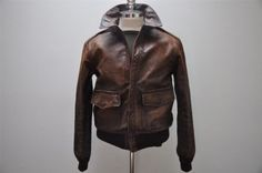 Polo Ralph Lauren Distressed Leather A2 Flight Bomber Jacket L