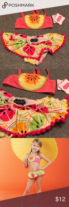 Mud Pie Tutti Frutti Citrus Bikini 0-6M Bandeau style top is brand new with tags. The coordinating skirt style bottom has been worn a couple times but has no flaws. It features a pom pom ruffle trim. Mud Pie Swim Bikinis