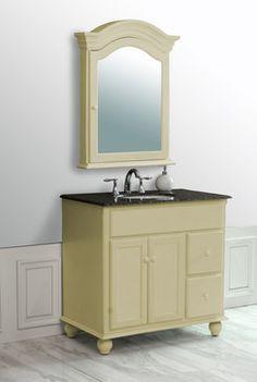 "36"" Yellow Cream Single Sink Vanity with Baltic Brown Granite Top And Mirror - farmhouse - Bathroom Vanities And Sink Consoles - Stufurhome"