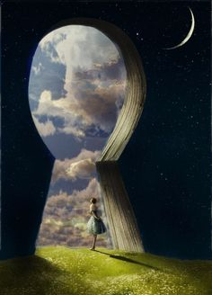 Books are the key to other worlds. :) LOVE this picture