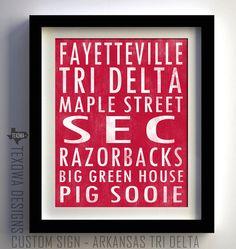 Arkansas Tri Delta Subway Scroll Art Print by texowadesigns, $25.00