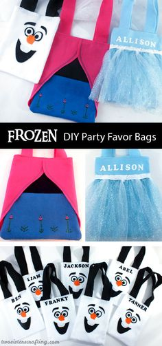 Our Frozen Party Favor Bags are adorable, fun and so easy to make. Frozen Party Bags, Frozen Birthday Theme, Disney Frozen Party, Party Favor Bags, Frozen Theme, Party Favours, Olaf Party, Elsa Birthday Party, 4th Birthday