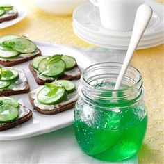 Lime Mint Jelly Recipe -This holly-green jelly won a Best of Show at the county fair and I was so thrilled. Flavored with lime, it's delicious on roasted meats. —Tall Pines Farm, Gloria Jarrett, Loveland, Ohio