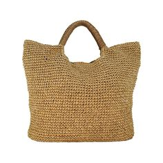 be19e7773a456 Tote style straw handbag with leather trimming