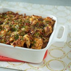 Loaded Baked Potato & Chicken Casserole | Loaded out cheesy, chicken, and potato casserole is as easy as 1-2-3. For lighter and more sensitive palates, reduce the hot sauce measurement by half.