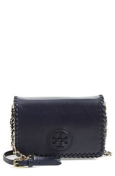 Free shipping and returns on Tory Burch 'Marion' Leather Crossbody Flap Bag at Nordstrom.com. A layered logo emblem adds signature dimension to a pebbled-leather crossbody bag outlined with oversized whipstitching.