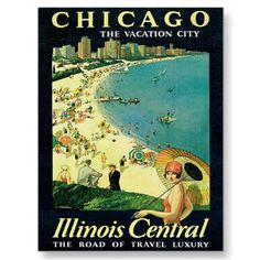 Chicago Illinois IL US Vintage Travel Poster Art Post Cards,shirts,stickers,mugs,magnets,hats,gifts.