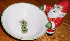"CHRISTOPHER RADKO CHRISTMAS SANTA BOWL CANDY DISH TRADITIONS CELEBRATIONS 6.5"""