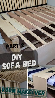 Who says you have to compromise on style just because you have a small space? This DIY bed transforms int. Very Small Bedroom, Small Chair For Bedroom, Small Space Bedroom, Rv Sofa Bed, Diy Couch, Diy Bed, Cheap Murphy Bed, How To Make Sofa Bed, Sofa Bed For Small Spaces