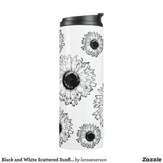 Shop Black and White Scattered Sunflowers Thermal Tumbler created by loraseverson. Pretty Black, Black And White, Sunflower Gifts, White Gardens, Custom Tumblers, Floral Flowers, Sunflowers, Blossoms, Design Trends