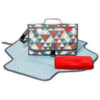 Skip Hop On-The-Go Pronto Changing Station - Triangles. The single most used item we have!  I wipe it down with a antibacterial wipe after each day it's out of the house.