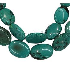 Gemstone Beads Strands, Natural Turquoise, Oval, Hole: 0.5mm