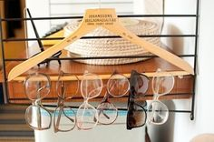 Hang Eyewear on a Hanger | 52 Totally Feasible Ways To Organize Your Entire Home
