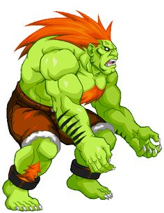 Blanka (from Street Fighter) Street Fighter 2, Blanka Street Fighter, Capcom Street Fighter, Street Fighter Characters, Graffiti Wall Art, Street Fights, Video Game Art, Game Gif, Custom Action Figures