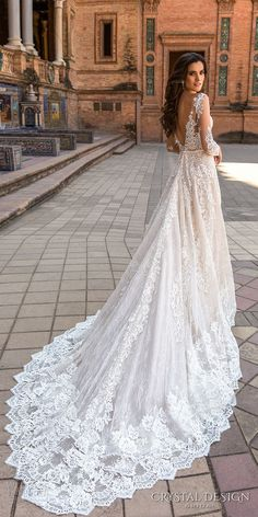 crystal design 2017 bridal long sleeves illusion bateau deep plunging sweetheart neckline full embellishment elegantsheath wedding dress v low back royal train (marlen) bv
