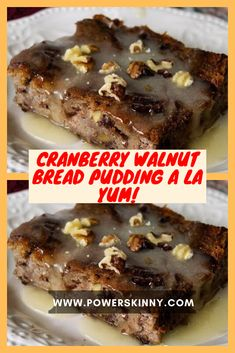 Cranberry Walnut Bread Pudding A La Yum! – One Of Recipe Pie Recipes, Brunch Recipes, Cranberry Walnut Bread, Cookie Dough Frosting, Biscuit Recipe, Baked Chicken, Raisin, Tarts, Rum