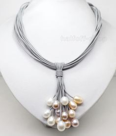 CHARMING AAA BIG PEARL PENDANT NECKLACE LEATHER CORD CHAIN MAGNET CLASP FASHION