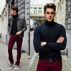 Grey Game (by Matthias Geerts) Burgundy Pants Men, Burgundy Chinos, Red Chinos, Burgundy Pants Outfit, Grey Outfit, Winter Night Outfit, Casual Winter Outfits, Old Man Fashion, Men's Fashion