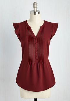 Expert In Your Zeal Top in Wine. Your boundless knowledge pulls your trivia night team to first place, and in this pintucked top you make the celebration look stylishly sweet! #red #modcloth