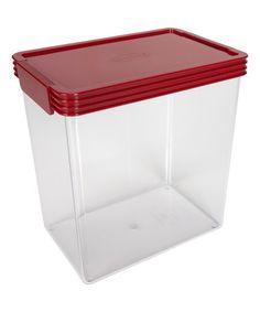 Love this 4.5-Quart Kitchen Essentials Airtight Red Lid Container on #zulily! #zulilyfinds