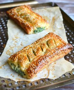 Spinach Puff Pastry Rolls with Feta and Ricotta is part of pizza - The recipe for this flaky pastry stuffed with creamy spinach goodness is golden savory perfection! Spinach Puff Pastry, Spinach Puffs Recipe, Savoury Puff Pastry Recipes, Spinach Rolls, Spanakopita Recipe Puff Pastry, Puff Pastry Pizza, Puff Pastry Desserts, Puff Pastry Appetizers, Pastries Recipes