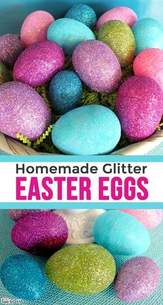 Homemade Glitter Easter Eggs - a fun and easy way to embellish plastic Easter Eggs. What a great way to take Dollar Store Easter Eggs from plain to spectacular.  The kids will love this glittery DIY Craft! Pin this fun Easter Craft for later and follow us for more fun Easter Decoration Ideas.