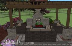 Turn your rear courtyard area into fabulous outdoor living area with our Courtyard Paver Patio Design with Pergola and Fireplace. How-to's and material list.