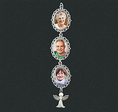 Lace Dangling Oval Photo Wedding Bouquet Charm w// Guardian Angel