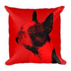 Boston Terrier Duotone Comic Red Decorative Pillow