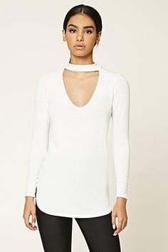 Cutout-Front High Neck Top