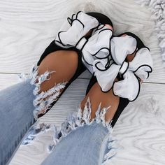 d5bfd5922aa2 Casual Thick Non-slip Bow Slippers