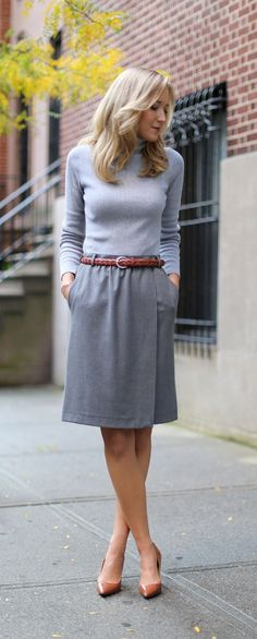 Loose skirt looks more comfortable than a pencil skirt, but similar style... nice colors.