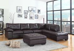 "2 pc Emily II collection espresso faux leather sectional sofa set with tufted seat and backs.  This set features an espresso faux leather upholstered sectional.  Sectional measures 119"" x 83"" L chaise x 37"" H.  Optional ottoman available separately at additional cost and measures 33"" x 33"" x 19.5"" H.  Some assembly required."