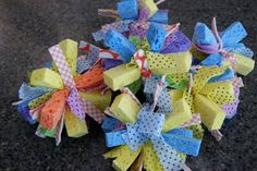 Water sponge bombs - I like this version because they use cable ties to hold them together and then cover them with cleaning cloth strips.