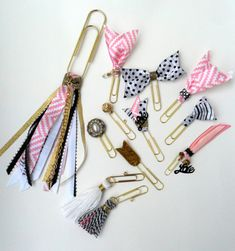 accessoires de planificateur, trombones décoratifs, arc trombones, or trombones, trombones embellis, charme planificateur, signet or