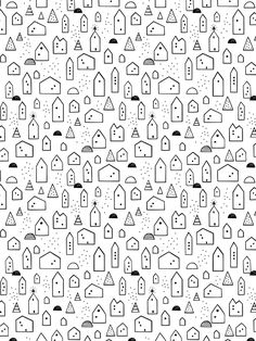 Free wrapping paper, little scandinavian houses, Baba Souk