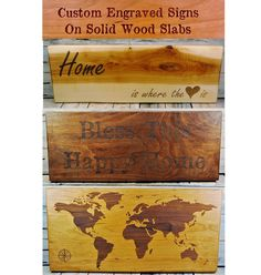 Engraved Wood Signs, Personalized Wood Signs, Personalized Wedding Gifts, Wooden Signs, Wood Slab, Handmade Wooden, Custom Engraving, Types Of Wood, Woodworking